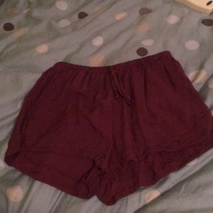 Burgundy flowy shorts